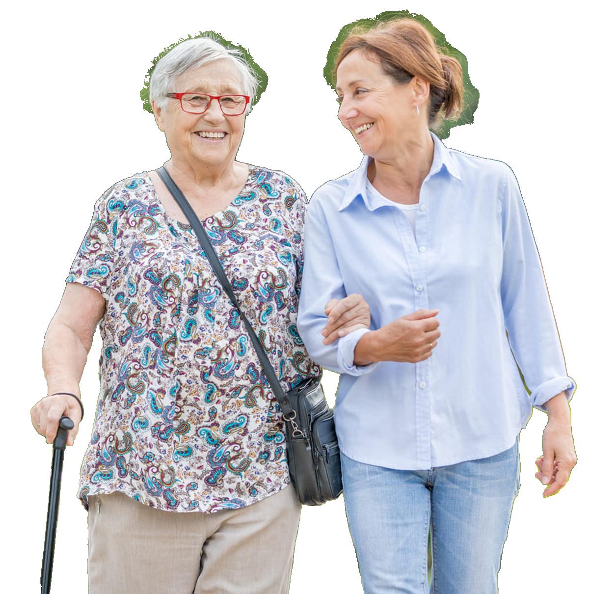 Tochter und Mutter gehen Spazieren - Altenheime Apel betreiben 5 Einrichtungen für Altenpflege & Seniorenbetreuung in Geesthacht, nähe Hamburg